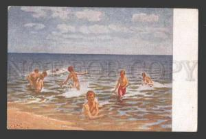 114805 Swimming Boys by SUDKOVSKY vintage Color Russia PC