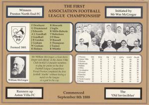 First Victorian Football League Championship Preston Aston Villa FC Postcard