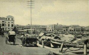 straits settlements, SINGAPORE, Boat Quay, Rickshaw (1910s) Postcard