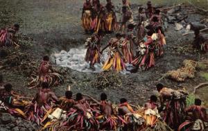 Fiji,   FIJIAN FIREWALKERS~Ceremonial Chanting~Bega Island Tribe   1966 Postcard