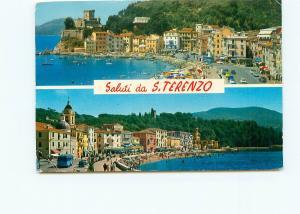 Postcard Saluti S Terenzo Ginocchio La Spezia Coast Beaches Italy # 4082A