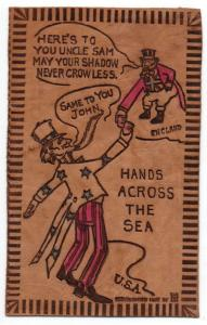 Patriotic Greetings Hands Across the Sea Uncle Sam Leather Novelty PC JD933358