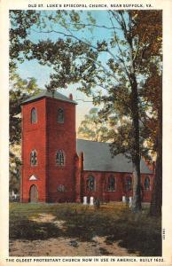 Suffolk Virginia Old St Lukes Episcopal Church Exterior Antique Postcard K10799
