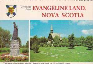 Canada Greetings From Evangeline Land Statue Of Evangeline & Church Of St Cha...