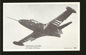 US Navy Grumman Panther Jet Fighter Black & White Vintage Postcard Unposted
