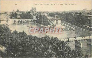 Postcard Old Paris Panorama of the City View from the Louvre