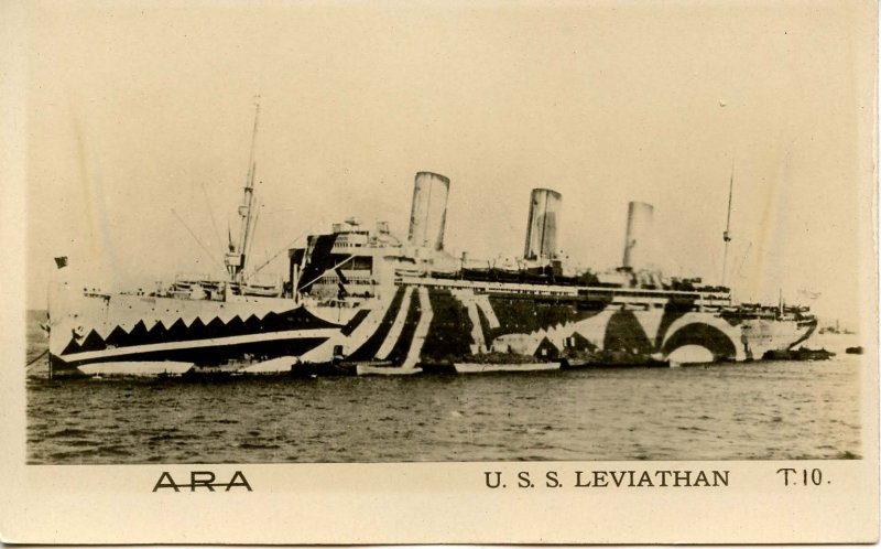 USS Leviathan - Dazzle Painted, WWI Service  ***RARE***     -RPPC-