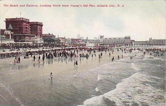 New Jersey Atlantic City The Beach And Bathers Looking North From Youngs Old ...
