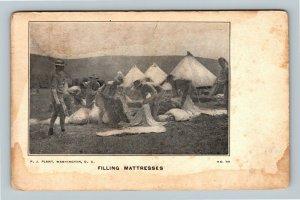 Workers Filling Mattresses, Vintage Washington DC c1907 Postcard