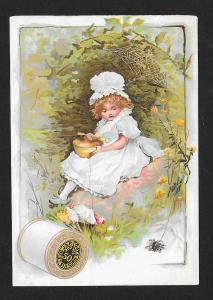 VICTORIAN TRADE CARD Coats' Thread Girl Eating Soup Spider