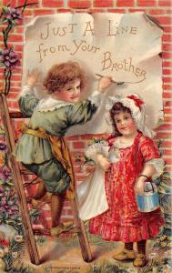 Victorian Children~Just A Line From Your Brother~Boy Paints~Girl With Can~Salke