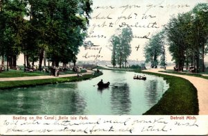 Michigan Detroit Belle Isle Park Boating On The Canal 1908