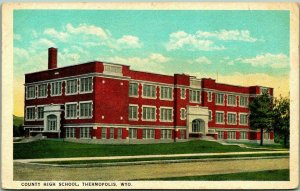 Thermopolis, Wyoming Postcard COUNTY HIGH SCHOOL Building / Street View c1930s