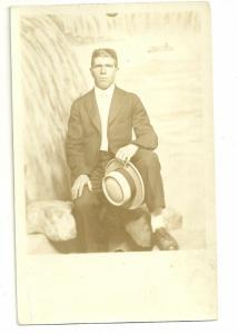 AZO 1904 to 1918 Real photo postcard, Man