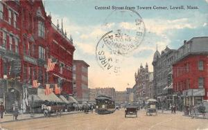 USA Central Street from Towers Corner, Lowell, Mass. 1914
