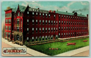 Williamsport PA~GRIT Family Newspaper Offices~Printing Building~Logo~Artist~1914