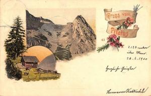 Lucerne Switzerland Gruss vom Mount Pilatus scenic view antique pc Z28563