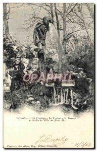 Old Postcard Grenoble Fountain Torrent in city garden