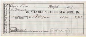 1870-2 Freight Receipt, STEAMER STATE OF NEW YORK, Hartfo...