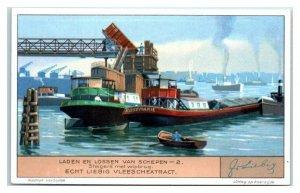 Scaffolding w/ Seesaw Bridge Loading & Unloading Ships Liebig Belgian Trade Card