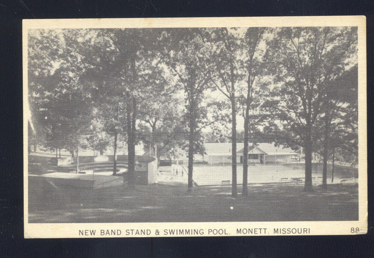MONETT MISSOURI SWIMMING POOL BAND STAND PARK ANTIQUE