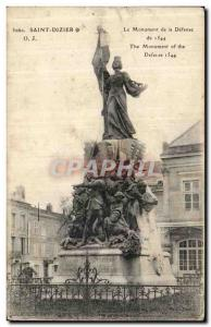 Postcard Old Saint Dizier The Monument of Defense 1544