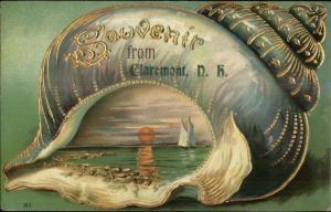 Claremont NH Seashell Border Shell Gilt Inlay c1910 Postcard