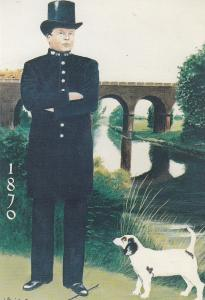 Essex Victorian Policeman Police by Chelmsford Viaduct Helmet Uniform Postcard