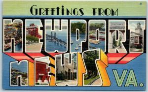 NEWPORT NEWS Virginia Large Letter Postcard Multi-View Tichnor Linen c1940s