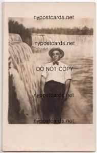RPPC, Man at Niagara Falls NY