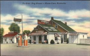 Horse Cave KY Gas Station Ye Olde Dog House Linen Roadside Postcard