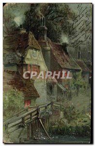 Old Postcard Fantasy Village house