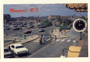 Newport, Rhode Island/RI Postcard, Thames Street & America's Cup Avenue