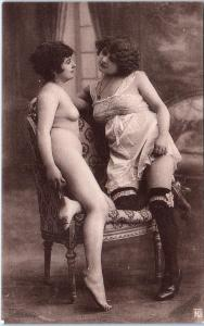 FRENCH NUDE Postcard 2 SEXY LADIES Lesbian Interest c1920s Ponsard-Paris
