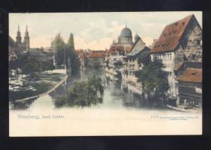 BACHARACH GERMANY AT NIGHT BIRDSEYE VIEW ANTIQUE GERMAN VINTAGE POSTCARD