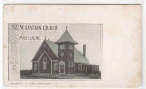 St Sebastian Church Madison Maine 1905c postcard