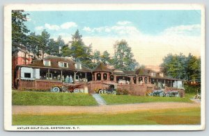 Amsterdam New York~Antler Golf Club~Guests on Crowded Porch~Vintage Cars~1920s