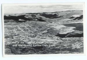 RPPC Air view of  Town of  Grand Coulee Washington WA