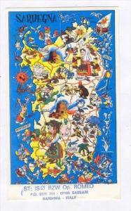 Map QSL Postcard, SARDEGNA , Italy , 1950s