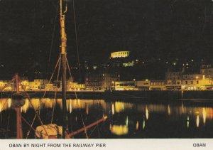 Oban By Night From Railway Pier Illuminations Scottish Postcard