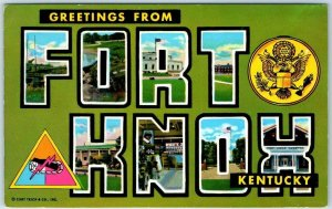 FORT KNOX Kentucky Large Letter Postcard Army Base Military Curteich Chrome