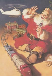 Santa Claus coke advertising postcard toys helicopter train