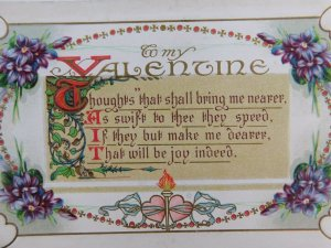 My Valentine Thoughts Shall Bring Me Nearer Posted Divided Back Vintage Postcard