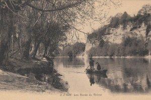 LES BORDS DU RHONE, France, 1900-10s; Men on a row boat