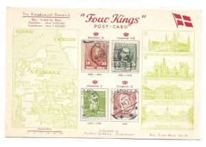 Denmark unused Four Kings c.1948 Postcard with Scott 65, 72, 281 & 307 affixed