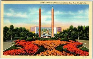 1939 New York World's Fair Postcard Garden at Court of Communications Linen