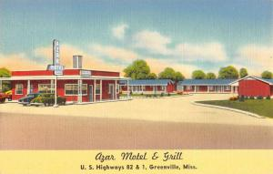 Greenville Mississippi Azar Motel And Grill Linen Antique Postcard K20917