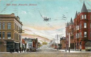 Vintage Postcard Main Street Anaconda Montana Anaconda-Deer Lodge County MT