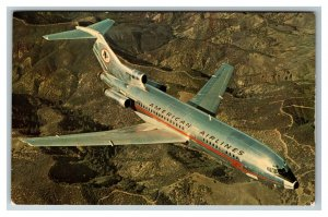 American Airlines Boeing 727 Astrojet c1972 Chrome Postcard Z67