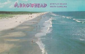 MYRTLE BEACH, South Carolina, 1950-60s ; Arrowhead ; Beach view